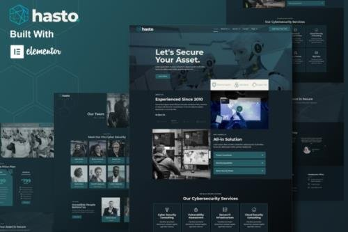 ThemeForest - Hasto v1.0.0 - Cyber Tech Security Service Elementor Template Kit - 30451154