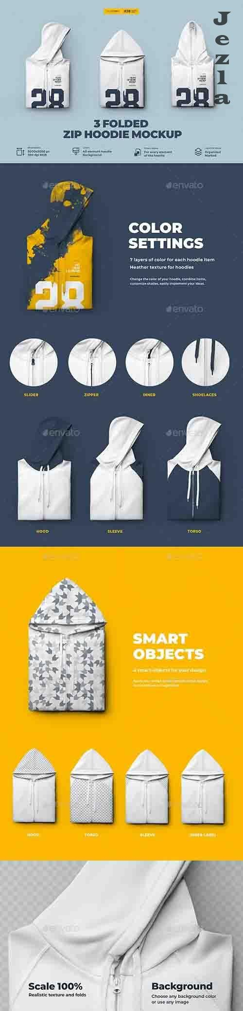 GraphicRiver - 3 Folded Zip Hoodie Mockup 30653884