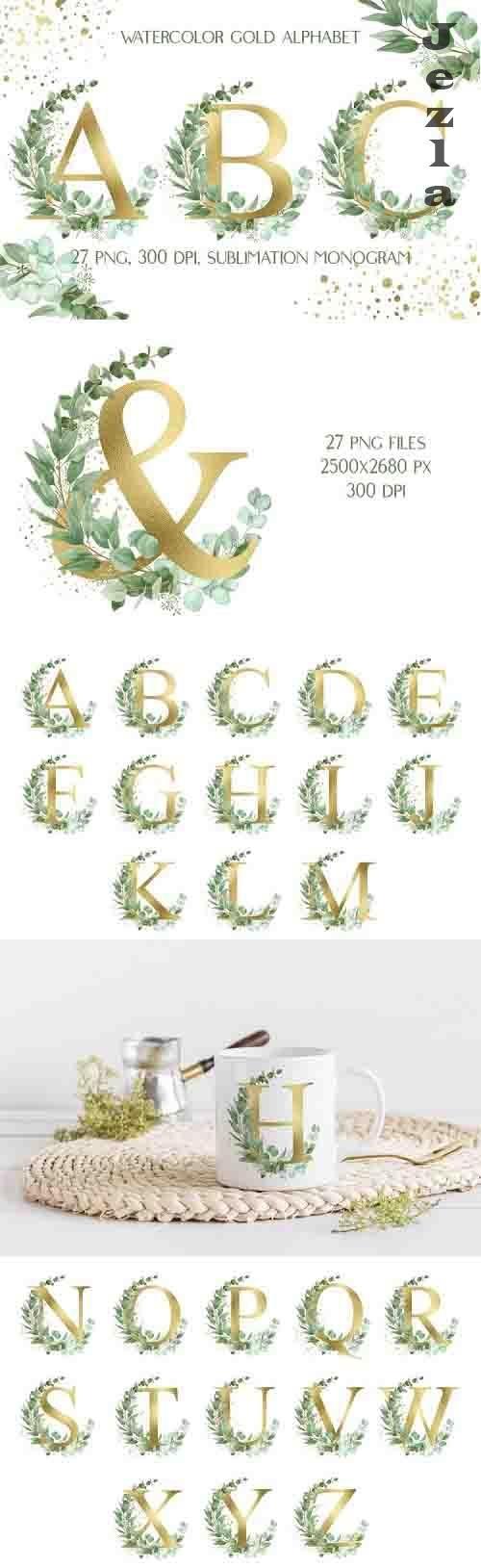 Sublimation Gold Alphabet | Eucalyptus Monogram Clip Art - 1238707
