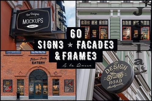 CreativeMarket - 60 Signs, Facades and Frames mockups 3655185