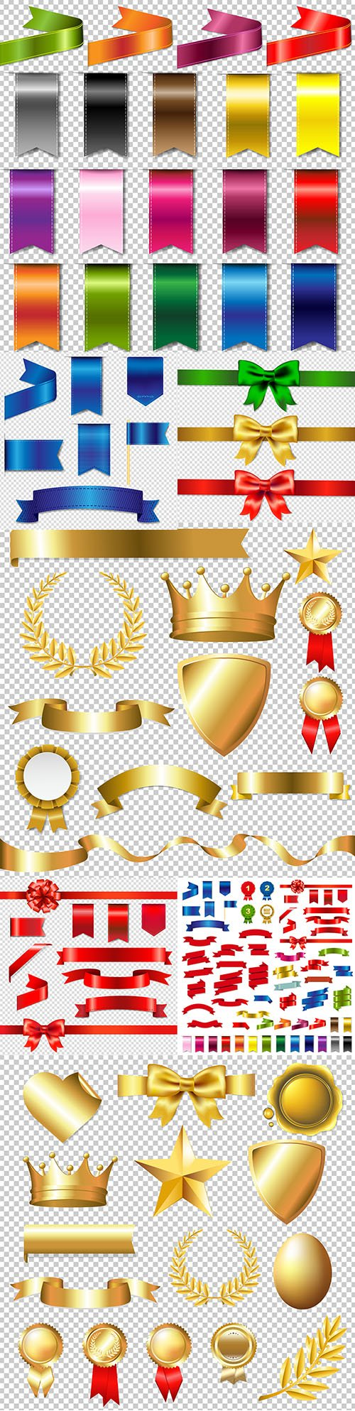 Bright ribbon and gold signs and symbols for design