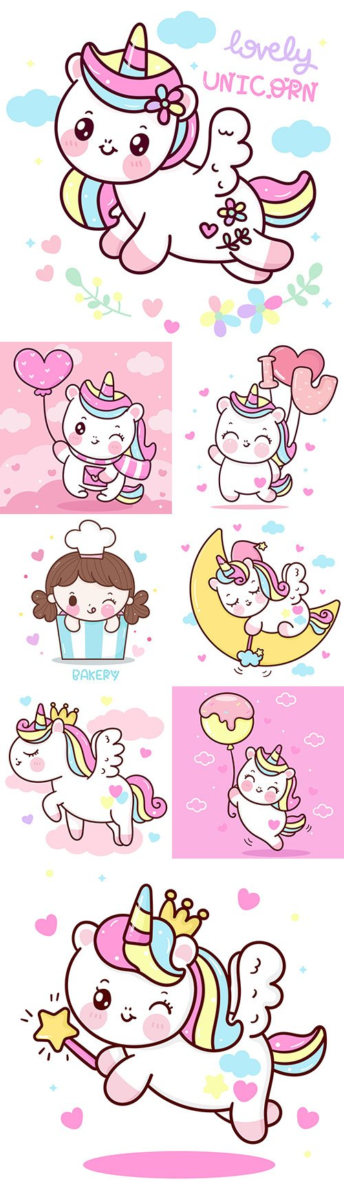 Cute unicorn princess cartoon on cloud painted illustrations