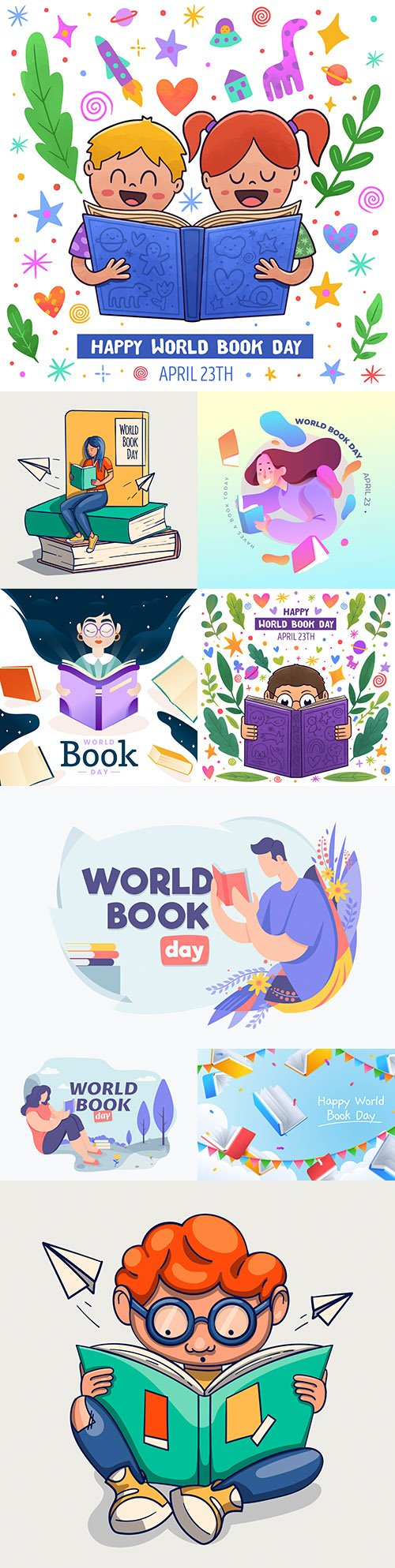 World Book day collection of illustrations flat design and watercolor