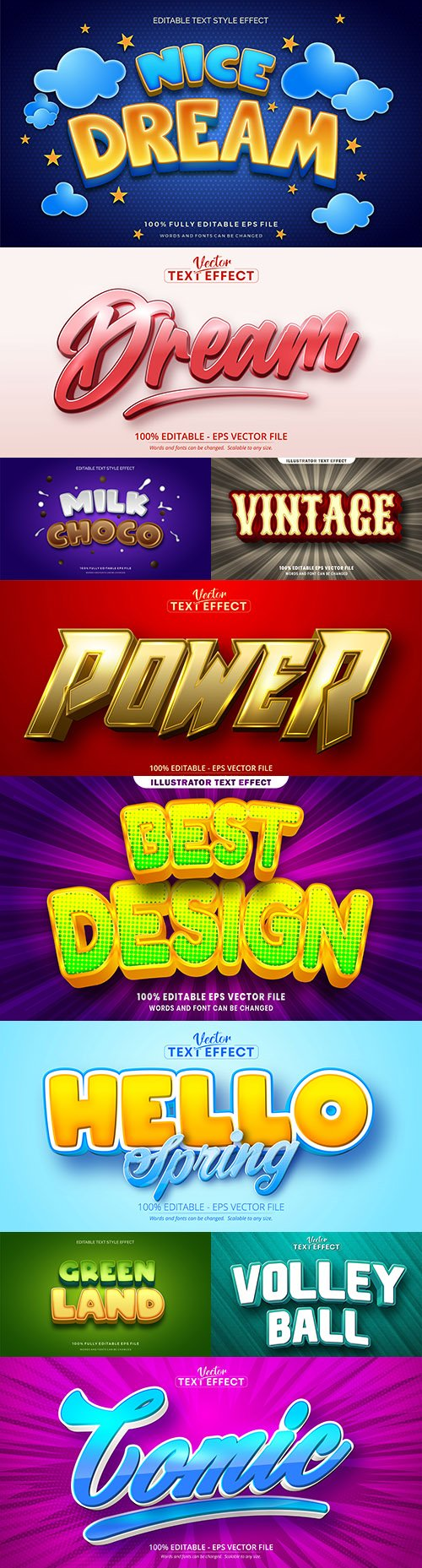 Editable font and 3d effect text design collection illustration 22