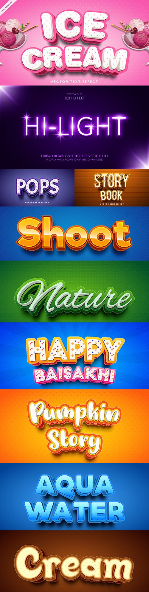 Editable font and 3d effect text design collection illustration 24