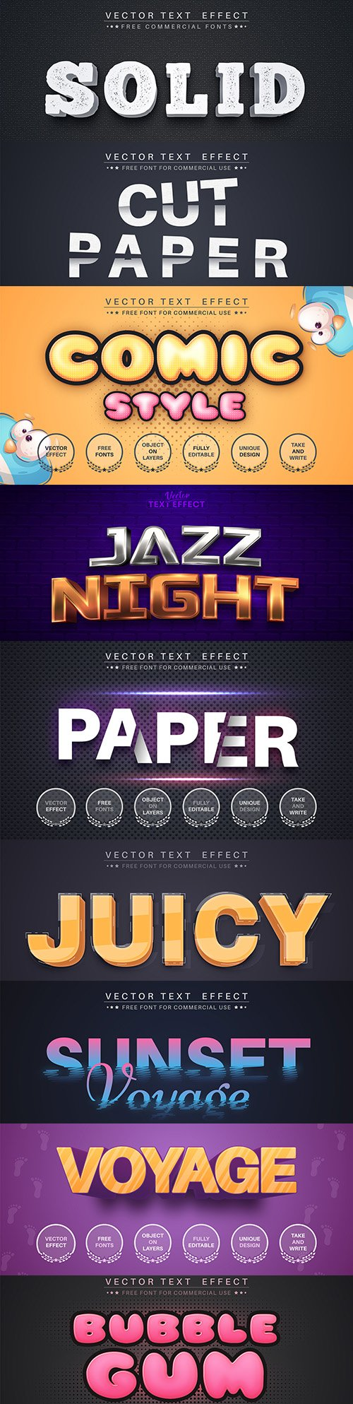 Editable font and 3d effect text design collection illustration 25
