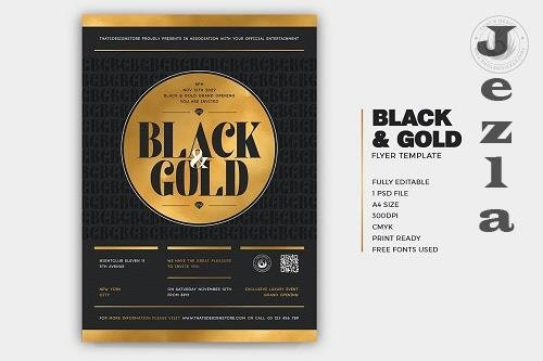 Black and Gold Flyer Template V23 - 5937925