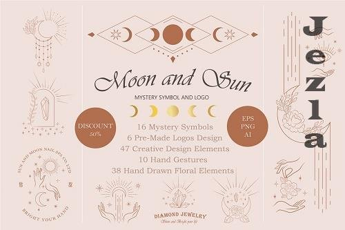Moon and Sun Mystery Symbol and Logo - 5567999