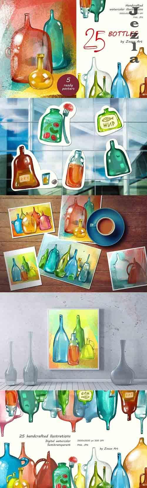 25 bottles watercolor illustrations - 5947612