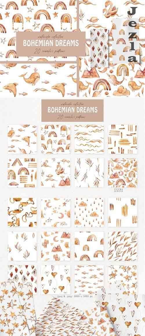 Bohemian Dreams seamless patterns - 5905744