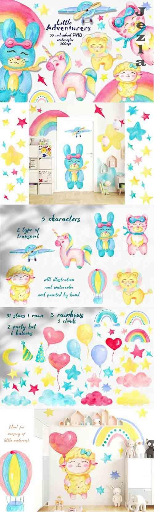 Watercolor kids clipart, Unicorn clipart, Cute Baby animals - 1249287
