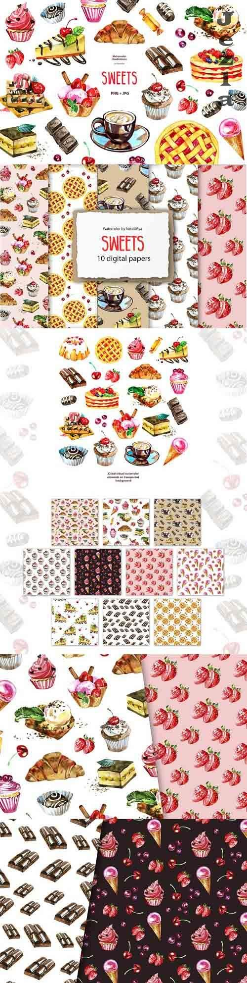 Watercolor sweets clipart and digital paper pack - 1239210 - 1240714