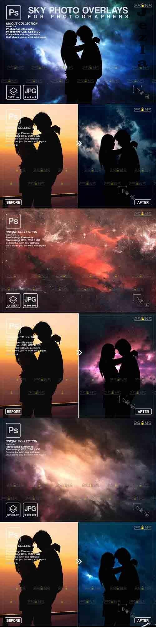 Night Sky Overlays, Pastel sky, sky overlay textures V3 - 1252018