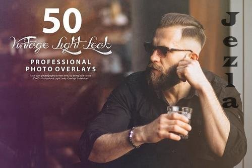 50 Vintage Light Leak Photo Overlays