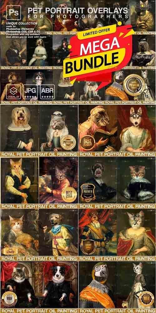 Mega Bundle Royal Pet Portrait templates Digital pet - 1255446