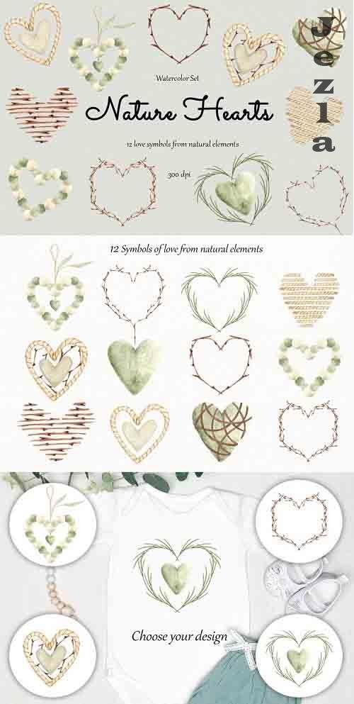 Watercolor Clipart Nature hearts - 1256961