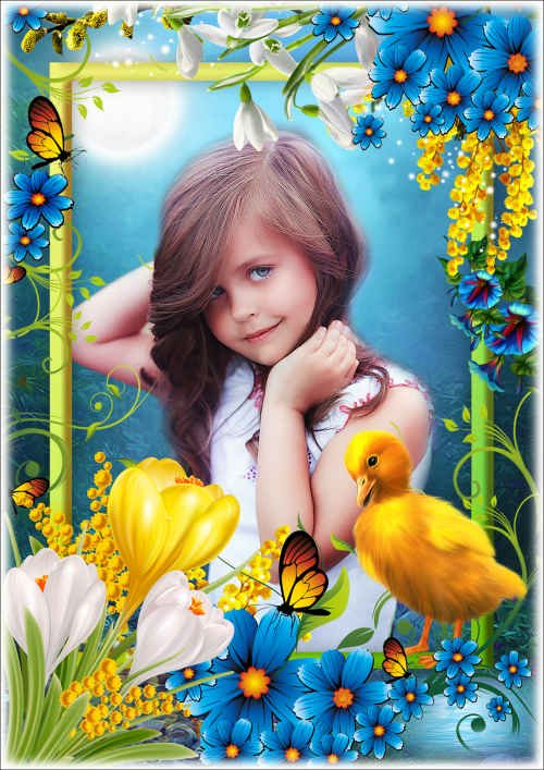Цветочная рамка для фото с утёнком - Прекрасный шафран