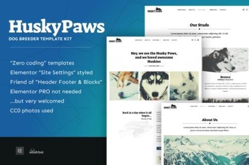 ThemeForest - HuskyPaws v1.0.1 - Dog Breeder Elementor Template Kit - 31088695