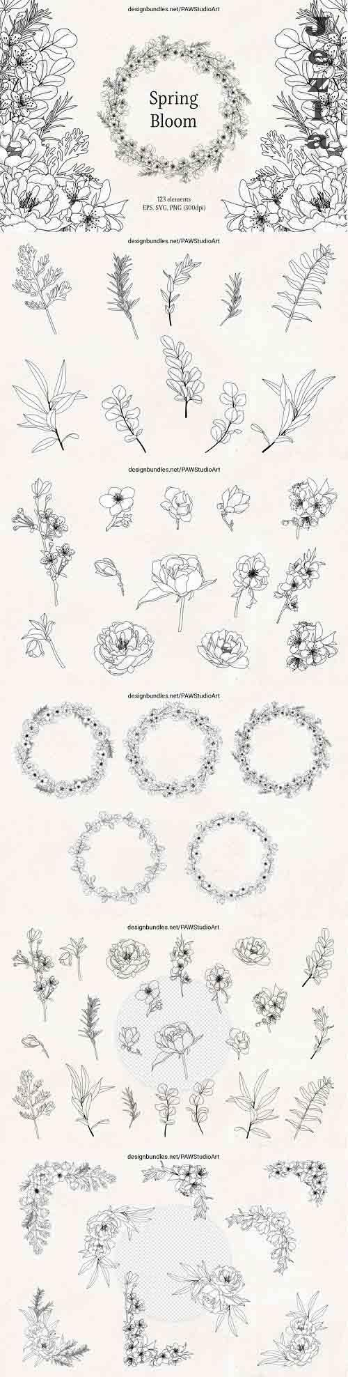 Floral Sketch Line Art Flower SVG Frame Botanical Monogram - 1268800