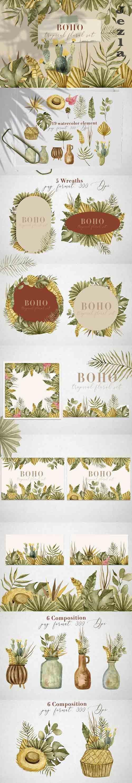 Boho tropical floral set - 5993792