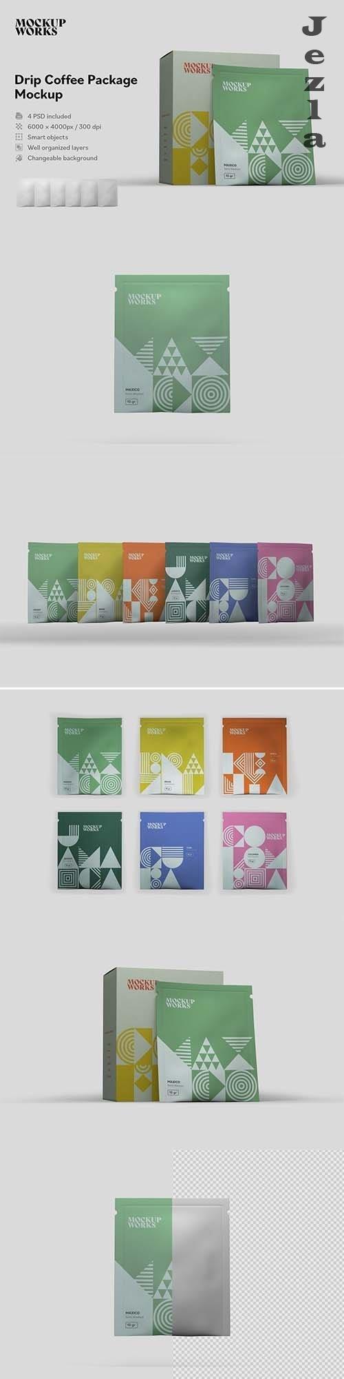CreativeMarket - Drip Coffee Package Mockup 5877145