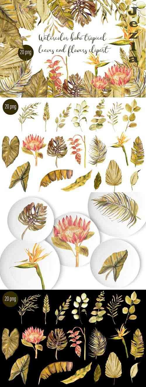 Watercolor tropical boho floral clipart. Flowers and leaves - 1285040