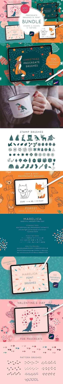 CreativeMarket - Procreate Brushes & Font Bundle 5928920
