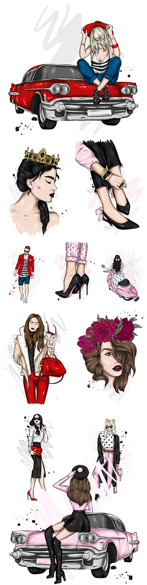 Beautiful girl and guy in stylish clothes with fashion accessories 2