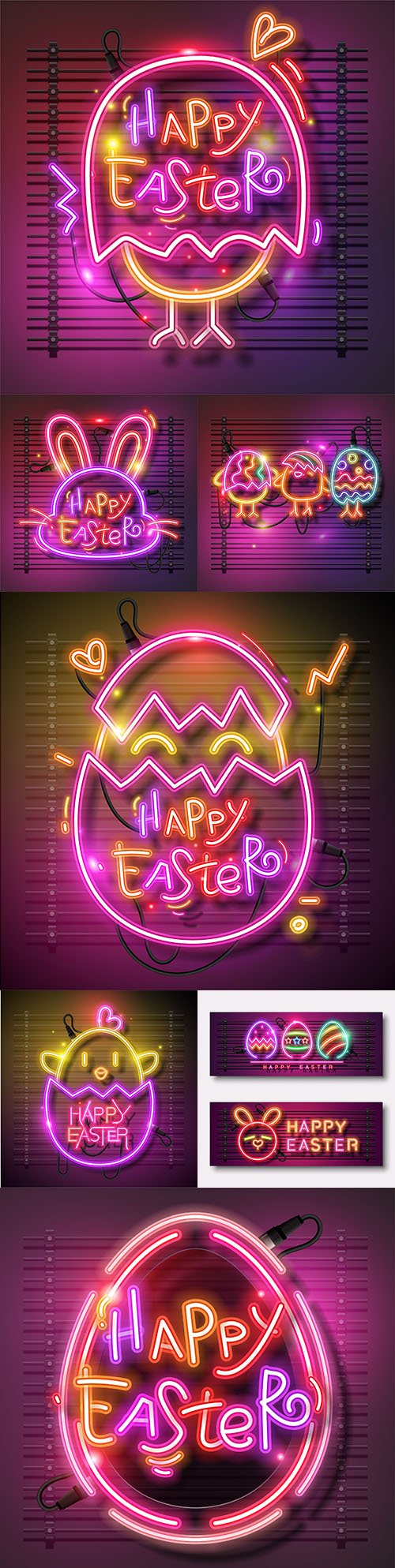 Happy Easter design banner with neon eggs illustration
