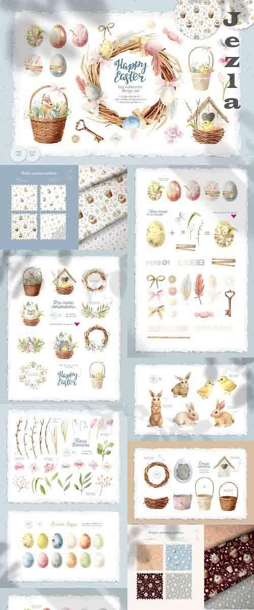 Happy Easter Watercolor Clipart - 4544974