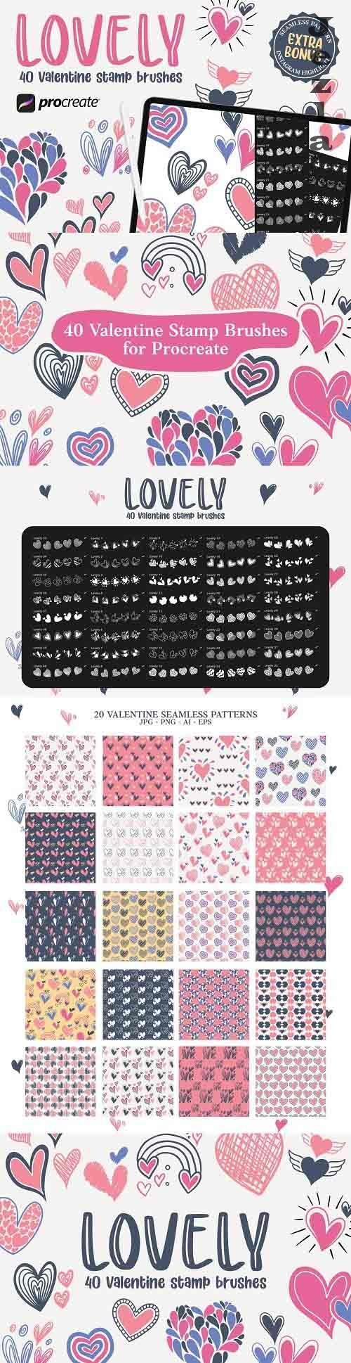 Lovely - 40 Stamp Brush Procreate - 5745380