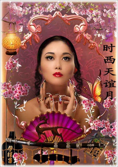 Цветочная рамка для фото в восточном стиле - Ханами - праздник цветения сакуры