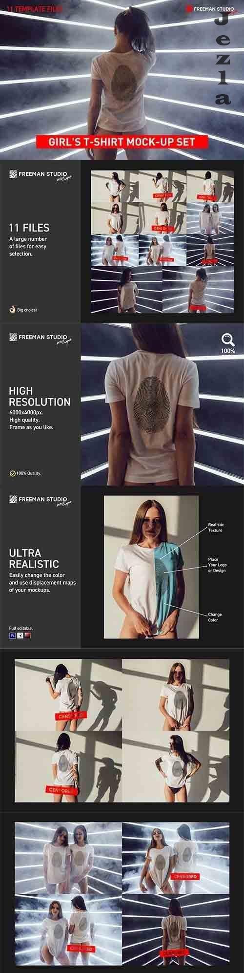 Girl's T-Shirt Mock-Up Set - 5997137