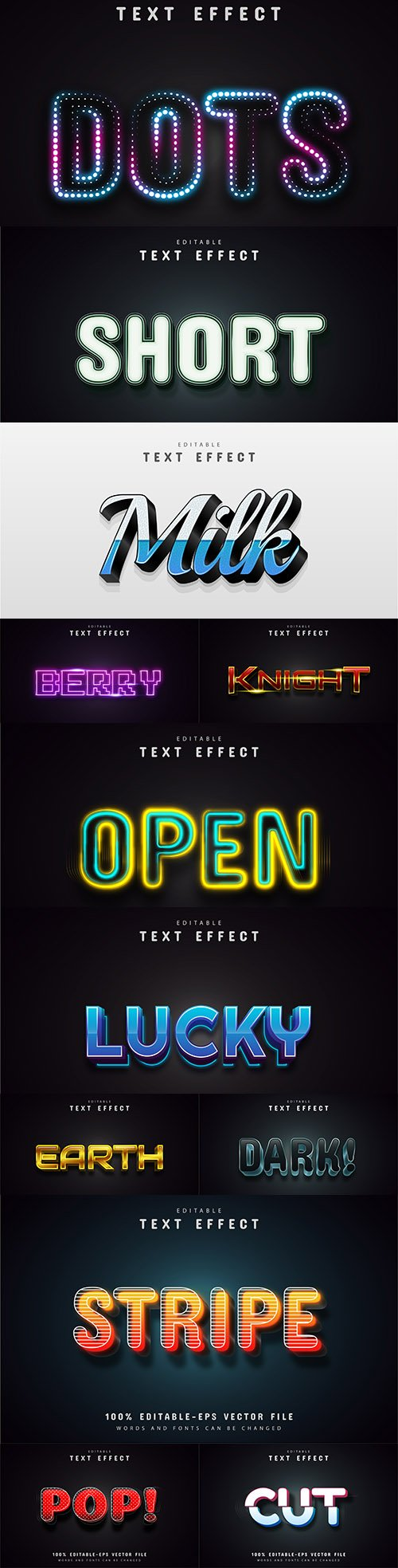 Editable font and 3d effect text design collection illustration 55