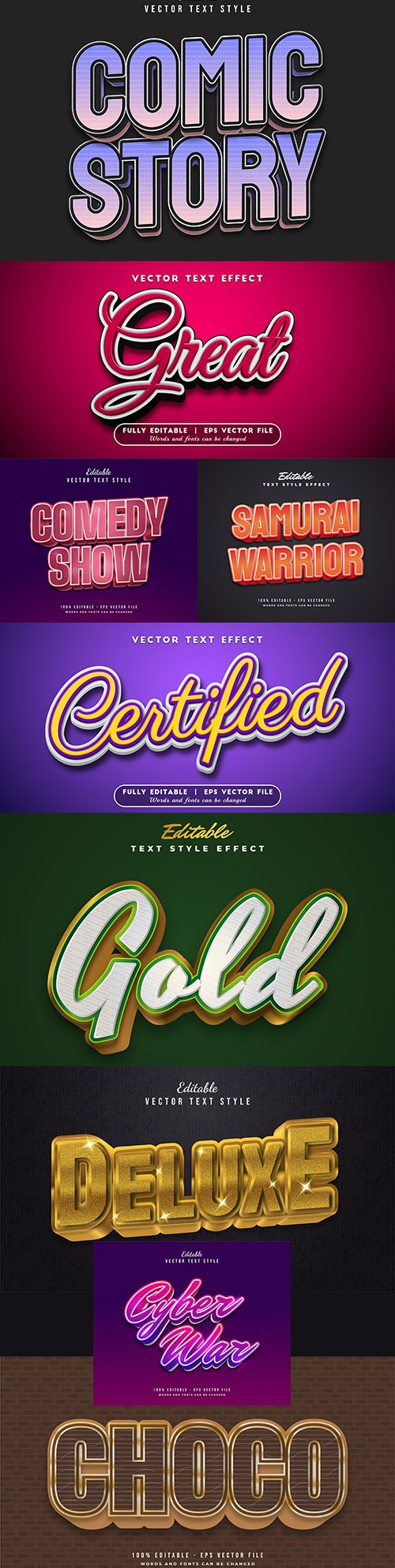 Editable font and 3d effect text design collection illustration 56
