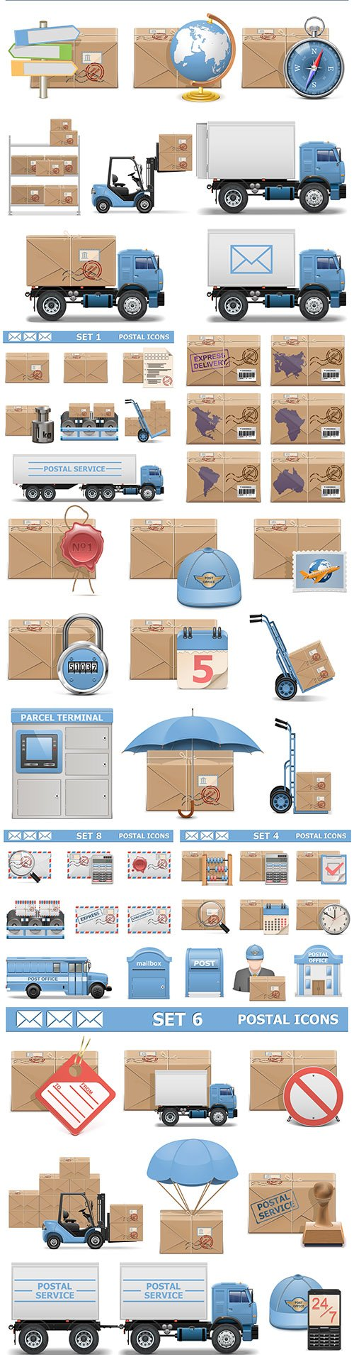 Mail icons and logistics delivery realistic design set