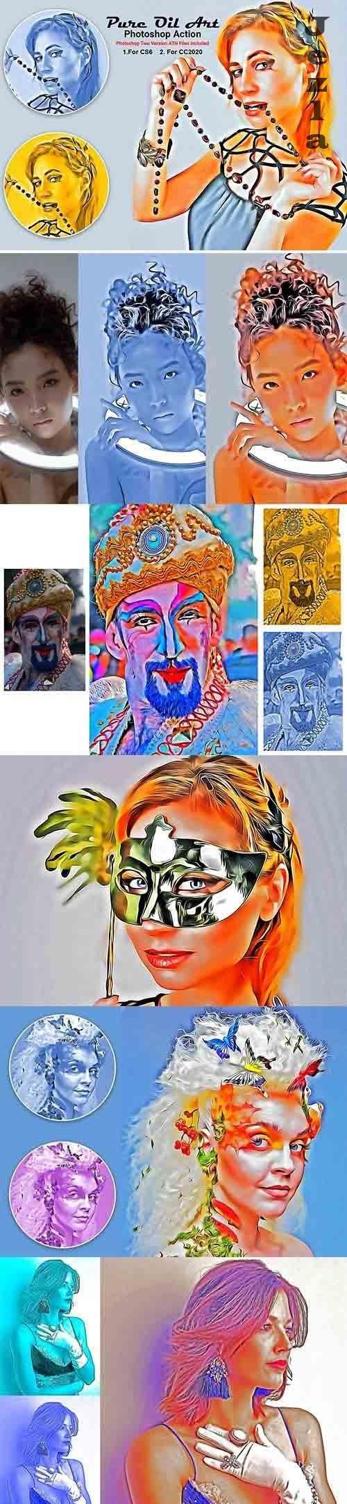 CreativeMarket - Pure Oil Art Photoshop Action 5323610