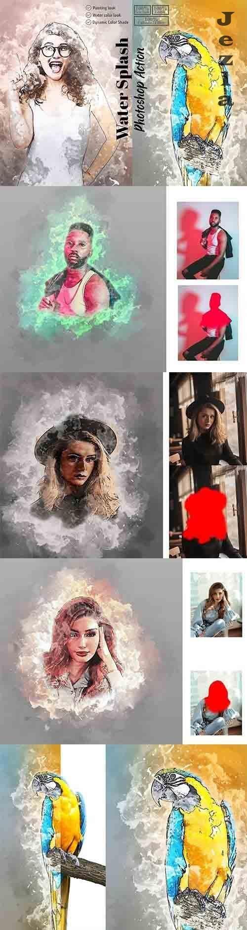 CreativeMarket - Water Splash Photoshop Action 5853025