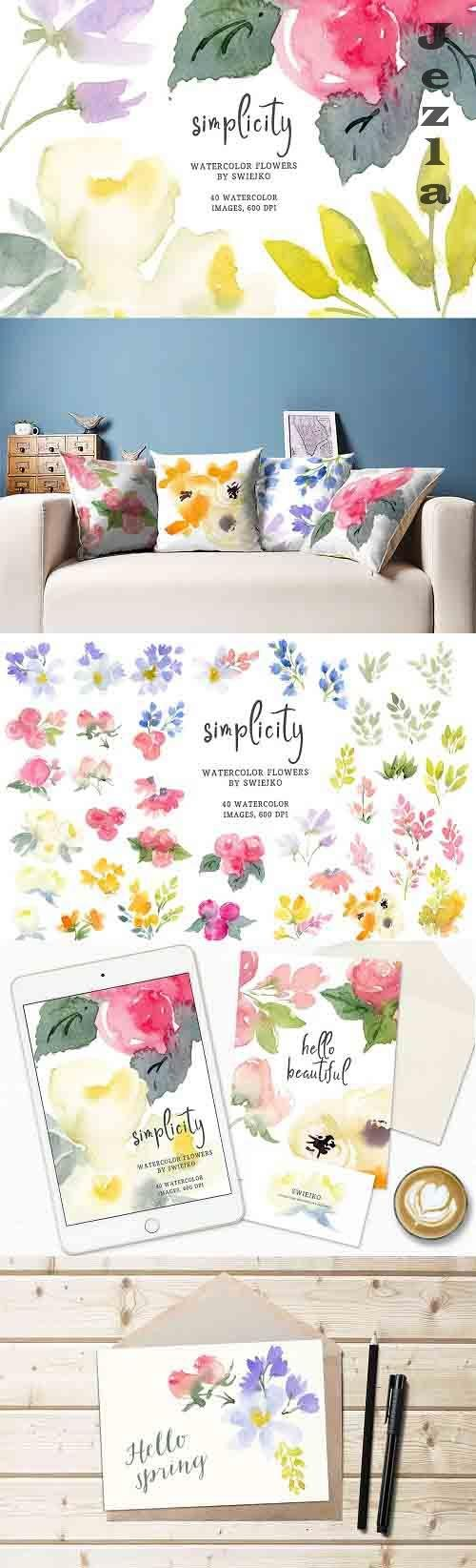Simple watercolor flowers - 6023425