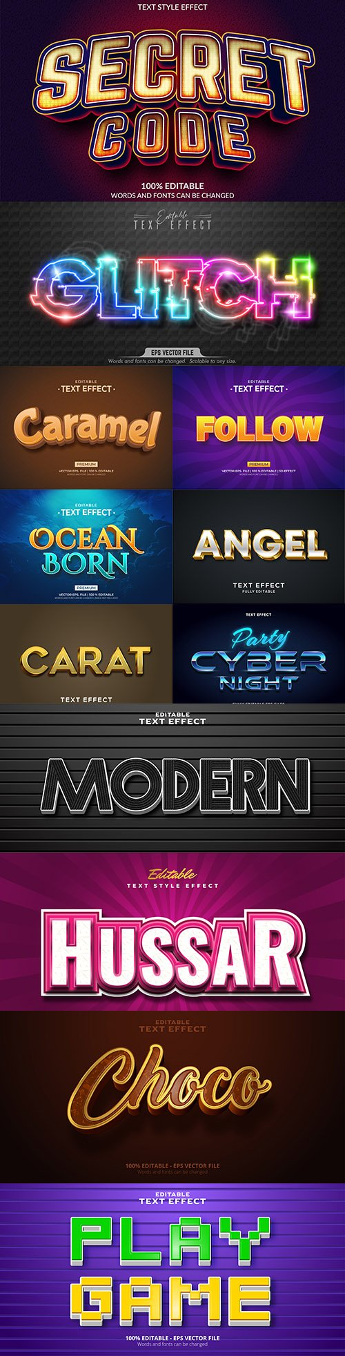Editable font and 3d effect text design collection illustration 57