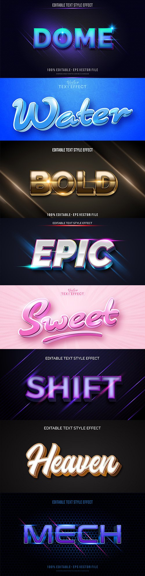 Editable font and 3d effect text design collection illustration 58