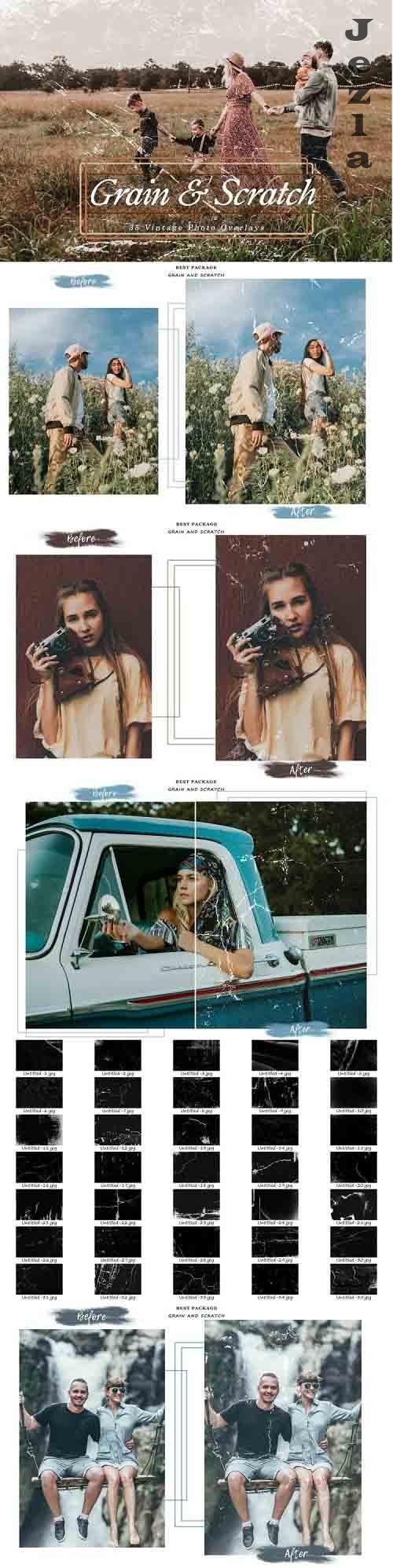 35 Vintage Grain and Scratch Photo Overlays, Retro Textures - 1297963