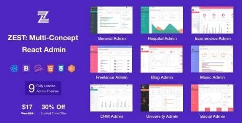 ThemeForest - Zest v1.1.0 - Multi-Concept React Admin Template - 23706653