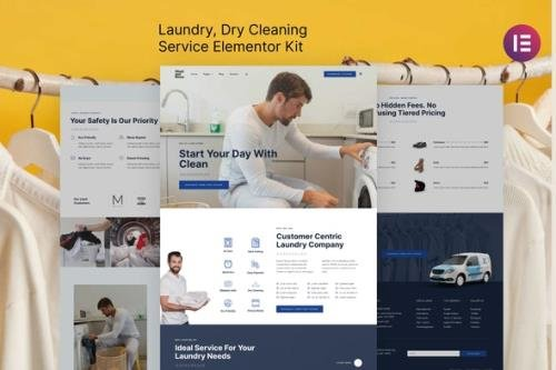 ThemeForest - Wash & Rinse v1.0.0 - Laundry & Dry Cleaning Service Elementor Template Kit - 31420915