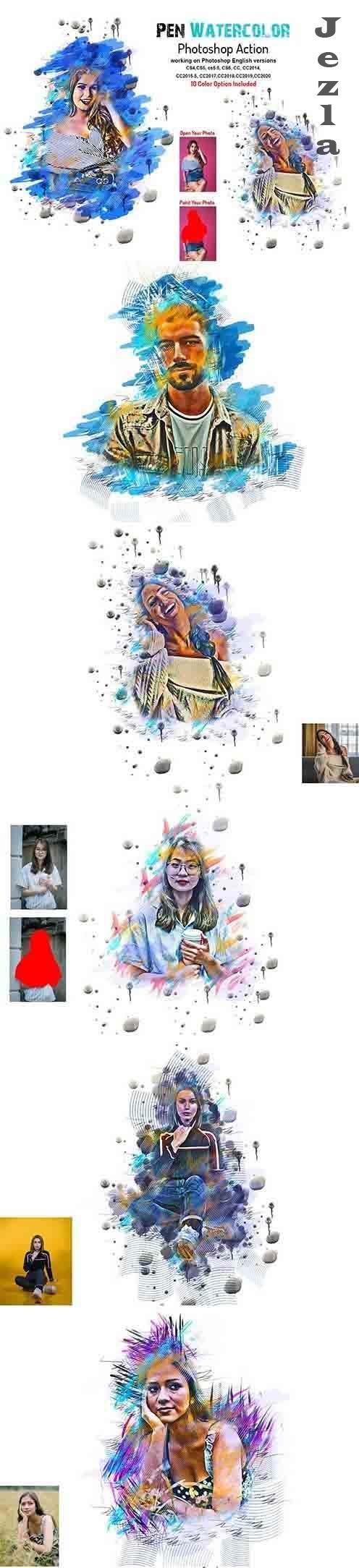 CreativeMarket - Pen Watercolor Photoshop Action 5877779