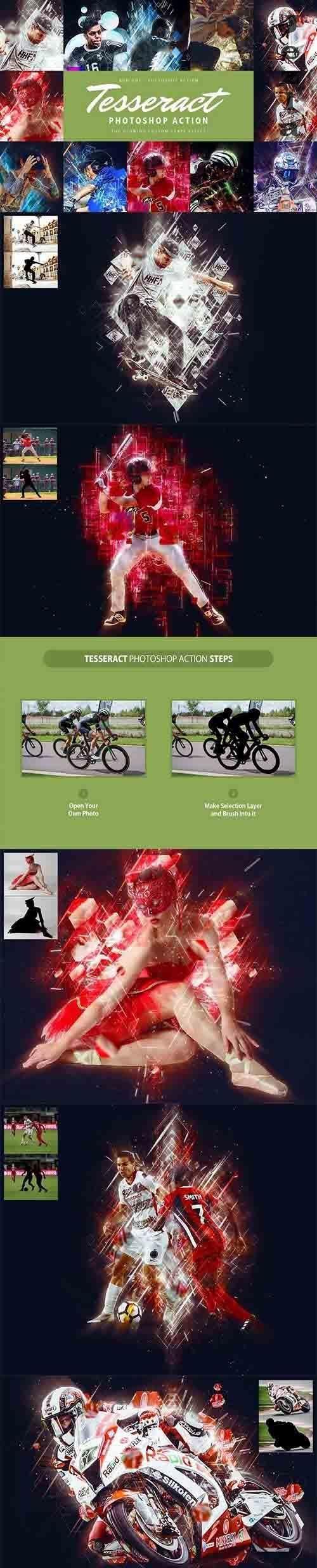 CreativeMarket - Tesseract Photoshop Action 4284639