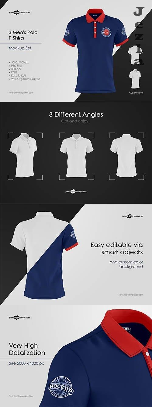 CreativeMarket - Men's Polo T-Shirts MockUp Set 5848252