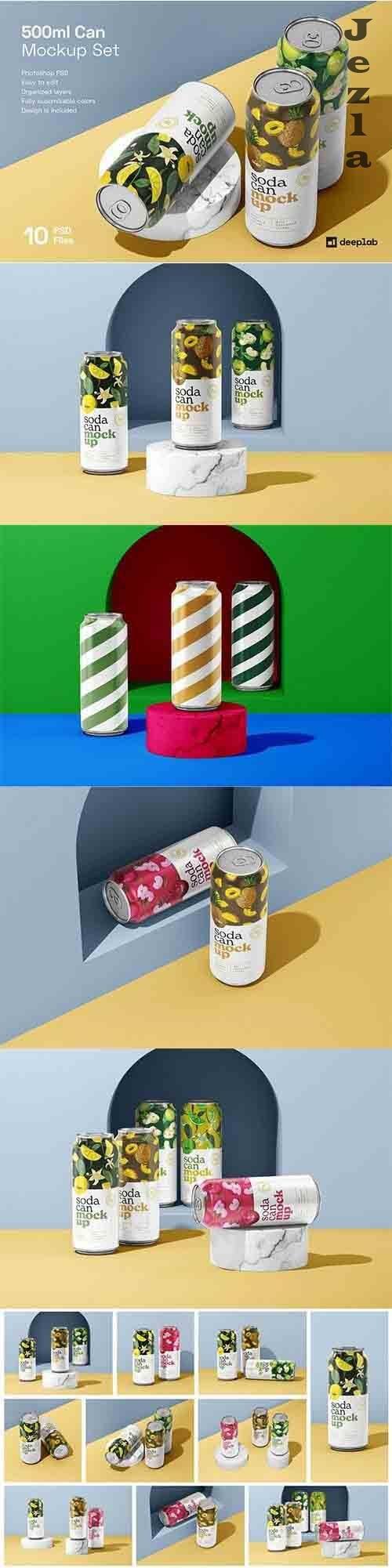 CreativeMarket - 500ML Soda Can Mockup Set 6012916
