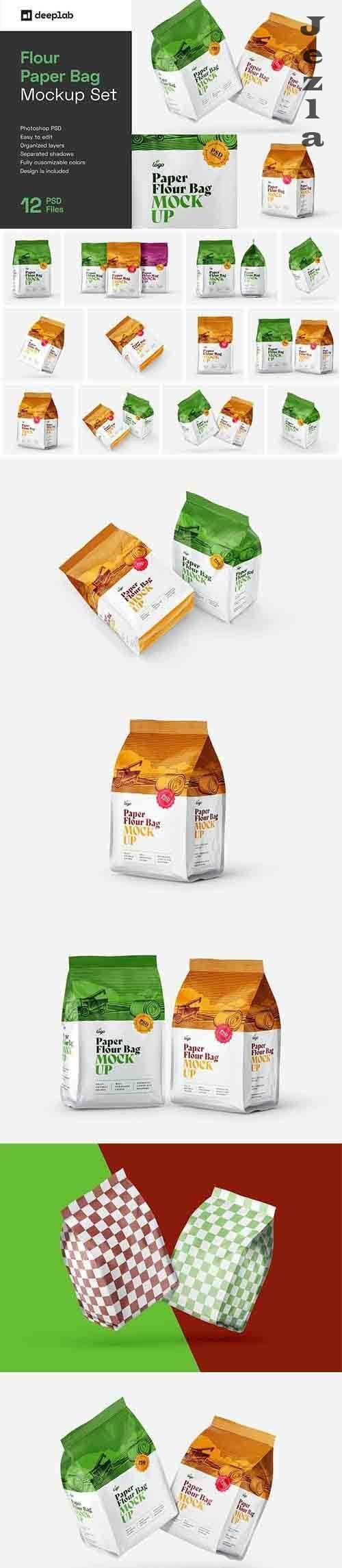 CreativeMarket - Paper Flour Bag Mockup Set   Pouch 6034118