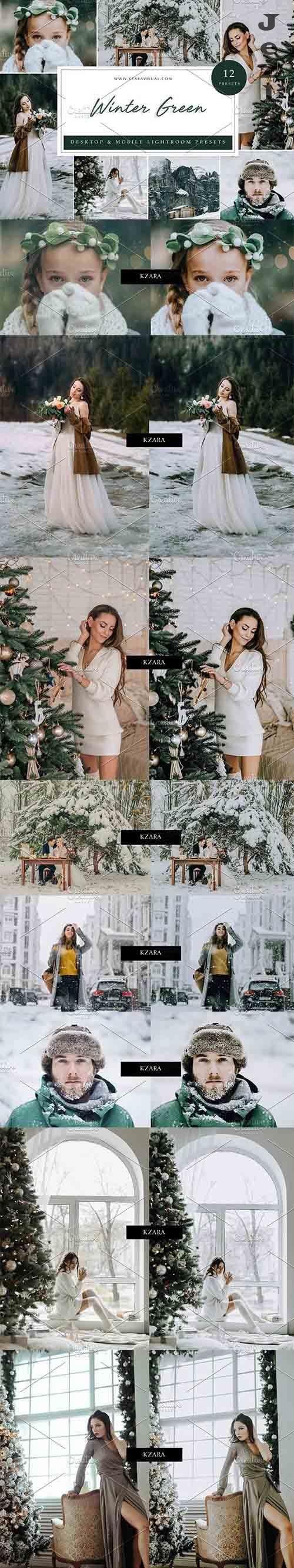 CreativeMarket - 12 x Lightroom Presets, Winter Green 5962772